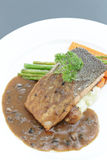 Grilled Salmon Steak with vegetables,pepper seeds. Stock Photos