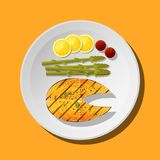 Grilled salmon steak with vegetables and spices served on plate. Vector , illustration Stock Image