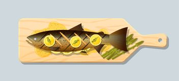 Grilled salmon steak with vegetables and spices served on wooden cutting board. Vector , illustration Stock Photography