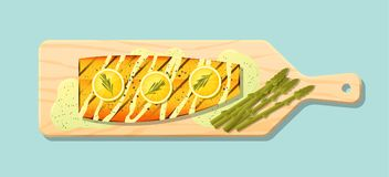 Grilled salmon steak with vegetables and spices served on wooden cutting board. Vector , illustration Stock Images