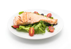 grilled salmon steak on white royalty free stock images