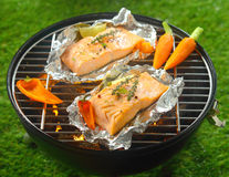 Grilled salmon steaks with baby vegetables Stock Photography