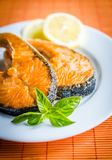 Grilled salmon steaks Stock Image