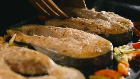 Grilled salmon steaks in cast iron pan stock video footage