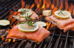 Grilled salmon steaks on fire Stock Images