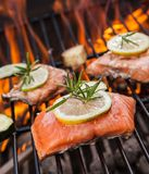 Grilled salmon steaks on fire Stock Photos
