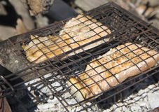 Grilled salmon. Steaks on the grill Stock Photography