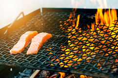 Grilled salmon steaks on a grill. Fire flame grill. Restaurant and garden kitchen. Garden party. Healthy dish. Grilled salmon steaks on a grill. Fire flame Stock Photos