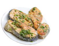 Grilled salmon steaks Royalty Free Stock Images