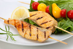 Grilled Salmon On Sticks Royalty Free Stock Photo