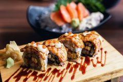 Grilled Salmon sushi Nigiri rolls Stock Images