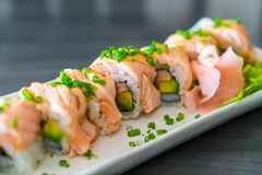 grilled salmon sushi roll royalty free stock photos