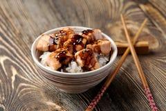 Grilled salmon tempura with rice Royalty Free Stock Photos