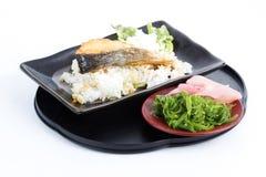 Grilled Salmon Teriyaki with rice and Chuka Seaweed Salad Stock Image
