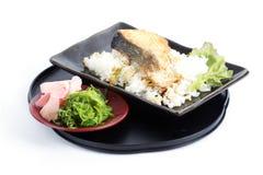 Grilled Salmon Teriyaki with rice and Chuka Seaweed Salad Stock Photos