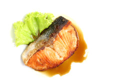 Grilled salmon with teriyaki sauce Royalty Free Stock Photo
