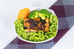 Grilled Salmon with Teriyaki Sauce and steam broccoli Stock Photos