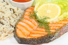 Grilled salmon trout steak Royalty Free Stock Images