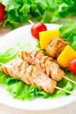 Grilled salmon and vegetable skewers Royalty Free Stock Photos