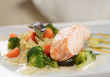 Grilled salmon with vegetables Stock Photography