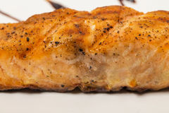 Grilled salmon and vegetables. Stock Image