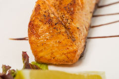 Grilled salmon and vegetables. Royalty Free Stock Photo