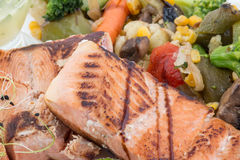 Grilled salmon and vegetables Royalty Free Stock Photo