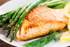 Grilled salmon and vegetables Royalty Free Stock Image