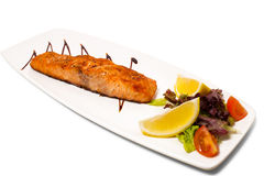 Grilled salmon and vegetables. Royalty Free Stock Photos