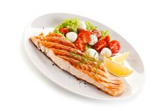 Grilled salmon with vegetables royalty free stock photo