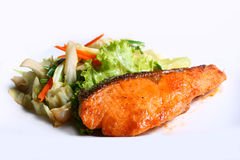 Grilled salmon. With vegetables Japanese foods style Stock Photo