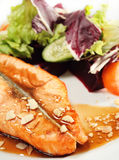 Grilled Salmon and Vegetables with Sauce Royalty Free Stock Photos