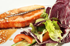 Grilled Salmon and Vegetables with Sauce Stock Photos