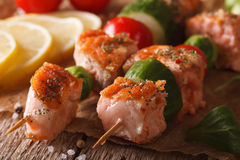 Grilled salmon with vegetables on skewers  macro. horizontal Stock Photography