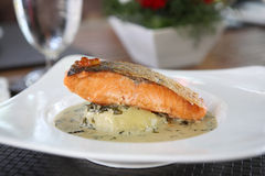 Grilled salmon with wakame sauce Stock Photo