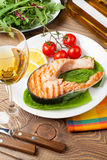 Grilled salmon and whtie wine Royalty Free Stock Photography