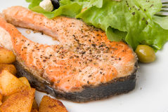 Grilled Salmon With Lettuce 6 Royalty Free Stock Image