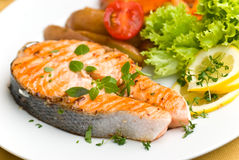 Grilled Salmon With Lettuce And Tomato- Close Up Royalty Free Stock Images