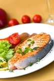 Grilled Salmon With Lettuce And Tomato- Close Up Stock Images