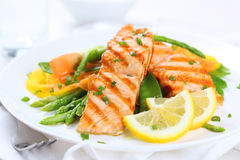 Free Grilled Salmon With Vegetables Royalty Free Stock Image - 19052316