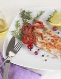 Grilled Salmon. Withe lemon and spices Stock Image