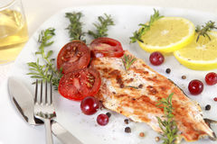 Grilled Salmon. Withe lemon and spices Royalty Free Stock Photo