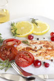 Grilled Salmon. Withe lemon and spices Stock Photos