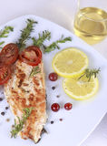 Grilled Salmon. Withe lemon and spices Stock Images