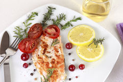 Grilled Salmon. Withe lemon and spices Royalty Free Stock Image