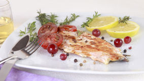 Grilled Salmon. Withe lemon and spices Royalty Free Stock Photography