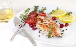 Grilled Salmon. Withe lemon and spices Royalty Free Stock Images