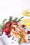 Grilled Salmon. Withe lemon and spices Stock Photography