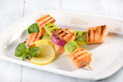 Grilled salmon with zucchini Royalty Free Stock Photos