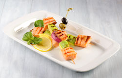 Grilled salmon with zucchini Royalty Free Stock Photo